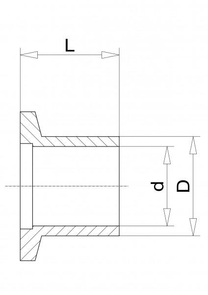 Anschweißflansch DN 16 KF 1.4301, L= 20mm Rohrdurchmesser 20 x 2,3mm