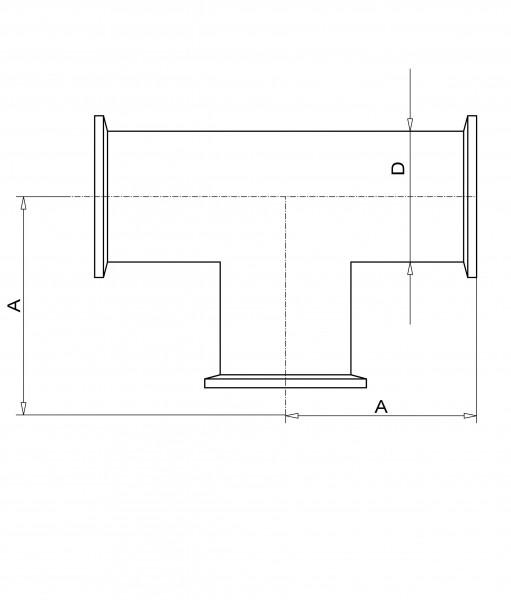 T-Stück DN 10 KF Edelstahl 1.4301