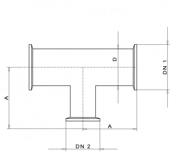 Reduzier-T- Stück DN 50/40 KF Edelstahl 1.4301