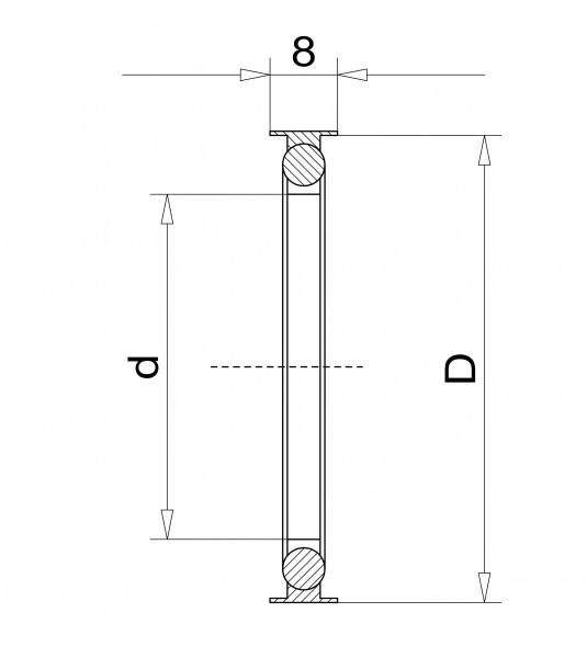 Außenzentrierring DN 50 KF, mit Innenring FPM Edelstahl 1.4305/FPM/Aluminium