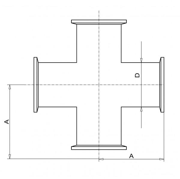 Kreuzstück DN 16 KF Edelstahl 1.4301