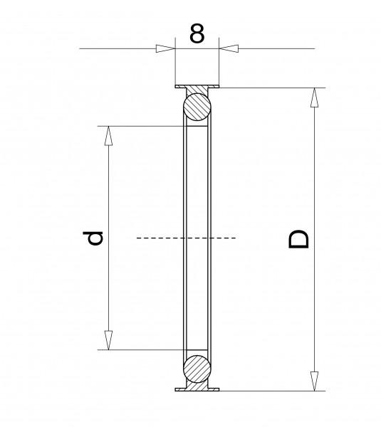 Außenzentrierring DN 40 KF, mit Innenring FPM Edelstahl 1.4305/FPM/Aluminium